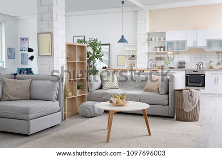 Stylish apartment interior with modern kitchen. Idea for home design #1097696003