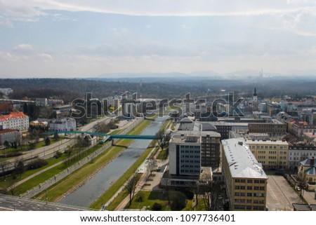 Ostravice river in Ostrava, Czeh Republic #1097736401