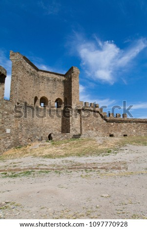 Ancient medieval fortress reminds of former battles and victories #1097770928