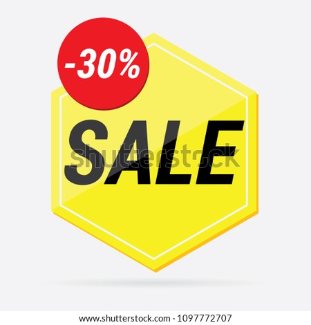 vector yellow Pentagon with the inscription sale #1097772707