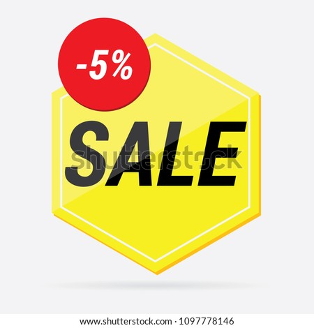 vector yellow Pentagon with the inscription sale #1097778146