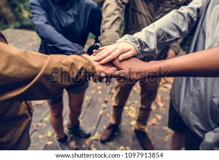 Team building outdoor in the forest #1097913854