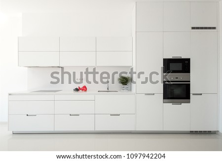 White empty classic kitchen in front view. Kitchen appliances. #1097942204