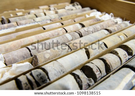 Rock core samples at the Geological Survey of Northern Ireland. Royalty-Free Stock Photo #1098138515