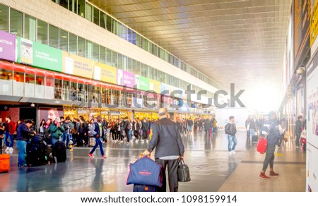 Rome, Italy, march 2017: View of the main gallery of Termini railway station in Rome #1098159914