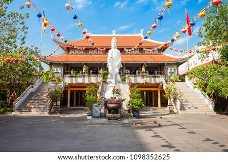Vinh Nghiem Temple is a pagoda in Ho Chi Minh City in Vietnam Royalty-Free Stock Photo #1098352625