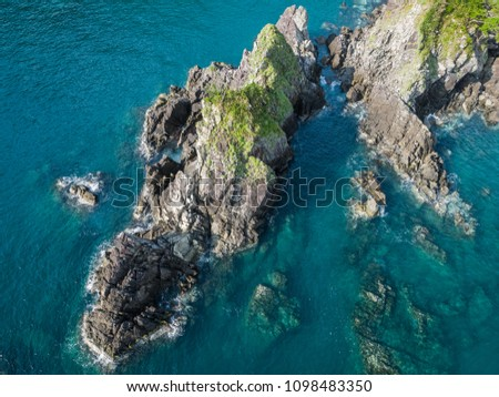 Fenniaolin Coast Landscape Aerial View - Famous natural spot of Yilan, Taiwan. Birds eye view use the drone in morning bright sunlight. #1098483350