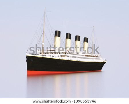 Titanic Rendering. Titanic in the sea. Sunny Royalty-Free Stock Photo #1098553946
