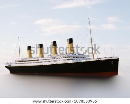 Titanic Rendering. Titanic in the sea. Sunny Royalty-Free Stock Photo #1098553955