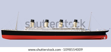 Titanic Rendering. Frontal projection. Side view. Sideways  Royalty-Free Stock Photo #1098554009