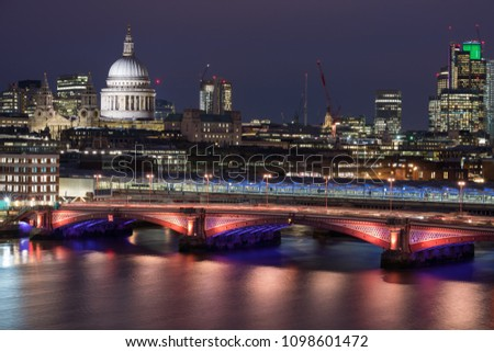 LONDON, UK – MAR 2018: Aerial view of St Paul's and Thames at night #1098601472