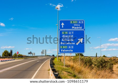 Directional Signs to Madrid, Barcelona and Valencia, the 3 biggest cities in Spain
