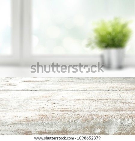 Table background of white color with window and summer time  #1098652379