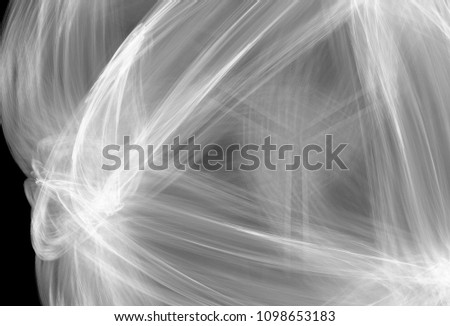 Monochrome abstract fractal illustration. Future technology background. Design element for book covers, presentations layouts, title and page backgrounds. Digital collage. Raster clip art. #1098653183