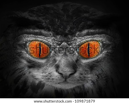 Monster face. Picture of funny animal for Halloween brochures and advertisements.