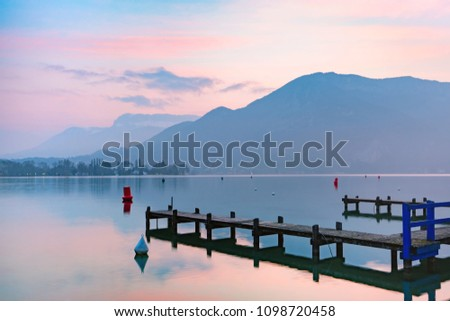 Annecy lake and Alps mountains at sunrise, France, Venice of the Alps, France #1098720458