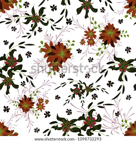 Little Floral Seamless Pattern with Cute Daisy Flowers and Pansies. Delicate Texture in Rustic Style for Cloth, Textile, Wallpaper. Vector Spring Rapport. #1098732293