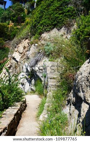 Rock Stairs at cliff line costa brava lloret de mar spain #109877765