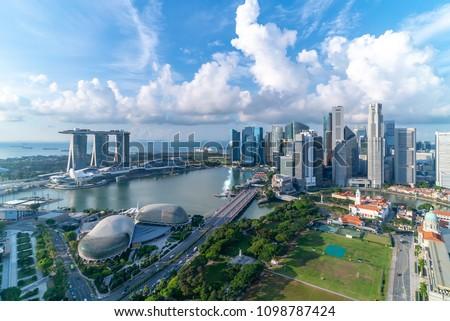 Aerial view of Cloudy sky at Marina Bay Singapore city skyline Royalty-Free Stock Photo #1098787424