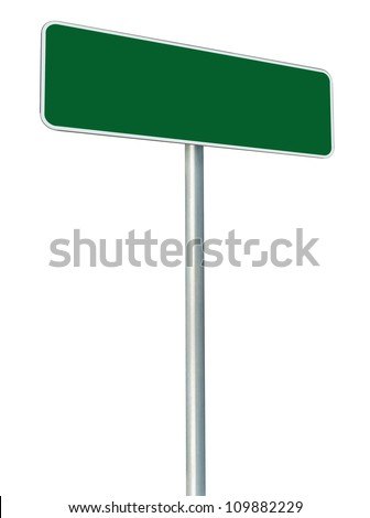 Blank Green Road Sign Isolated, Large White Frame Framed Roadside Signboard Perspective Copy Space, Large Empty Signage