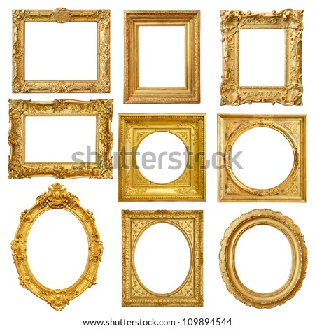 Set of golden vintage frame isolated on white background