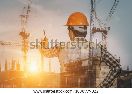 Double exposure man architect working on building site #1098979022