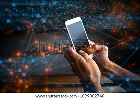 businessman use smartphone online to social network, touchscreen device connecting to global cyber net, digital link to data information, internet of things online, hacker privacy, ai crypto currency  #1099002740