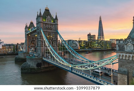 Tower Bridge in London, UK. Sunset with beautiful clouds #1099037879