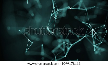 Technology concept background. Concept of Network. Abstract science geometrical background with connecting dots and lines. Big data visualization. #1099178111