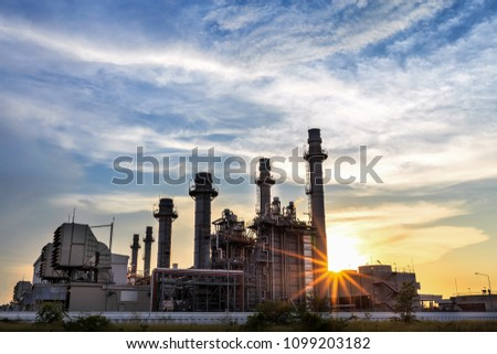 Gas turbine electrical power plant at dusk with twilight support all factory in industrial Estate  #1099203182