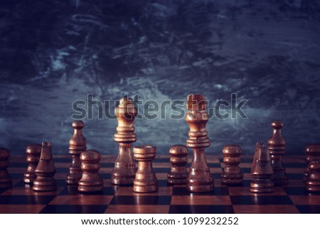 Image of chess board game. Business, competition, strategy, leadership and success concept #1099232252