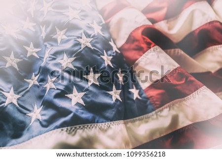 Close-up of american flag waving in the wind. #1099356218