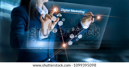 Digital marketing. Business using and drawing global structure networking on modern interface payments online shopping. Icon customer network connection on virtual screen. Plan and strategy.  #1099395098
