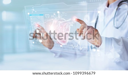 Medicine doctor and stethoscope touching icon heart and diagnostics analysis medical on modern virtual screen interface network connection. Medical technology diagnostics of heart  concept #1099396679