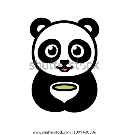 Cute cartoon panda with cup of green tea. Traditional Asian food and drink illustration. Isolated clip art drawing.