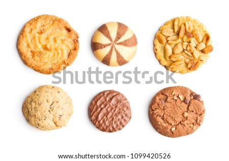 Different types of sweet cookies isolated on white background. Royalty-Free Stock Photo #1099420526