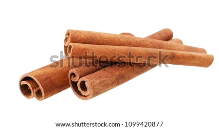 Cinnamon sticks isolated on white background without shadow Royalty-Free Stock Photo #1099420877