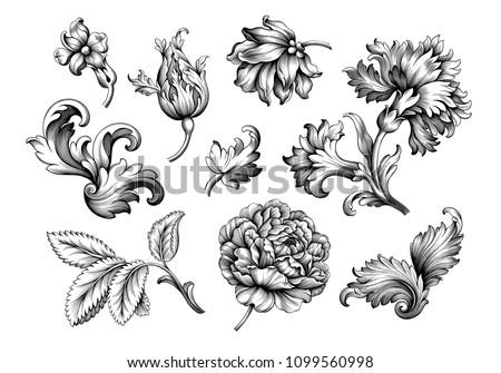 Baroque vintage floral set of rose peony carnation flowers. Black and white Victorian frame border ornament. Engraved leaf scroll vector retro pattern. Filigree design of decorative tattoo.