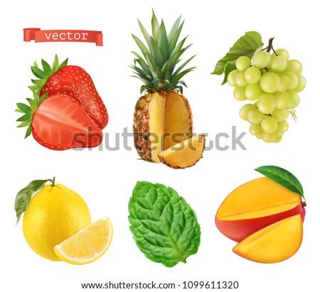 Fresh fruit. Strawberry, pineapple, grapes, lemon, mint and mango. 3d vector icons set. Realistic #1099611320
