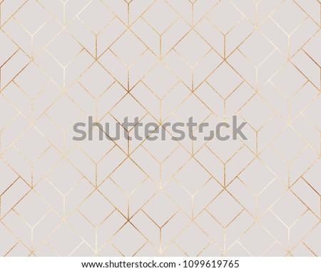 Elegant gold geometric seamless pattern with hexagons tiles. #1099619765