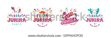 Festa junina party design set. Vector background with fireworks and garland. Vector illustration. For poster, card, web, invitation. Royalty-Free Stock Photo #1099643930