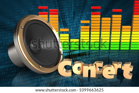3d illustration of loud speaker over binary digital background with concert sign #1099663625