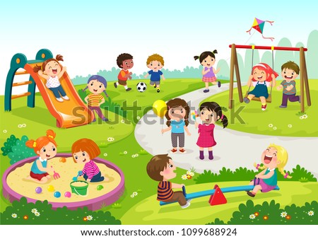 Vector illustration of happy children playing in playground Royalty-Free Stock Photo #1099688924
