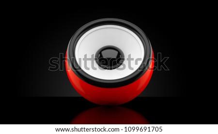 Audio speaker on black background. 3d illustration #1099691705
