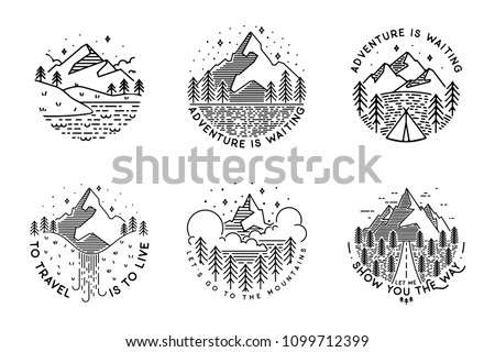 Travel set with emblems. Summer vector illustrations. Design for t-shirt Royalty-Free Stock Photo #1099712399
