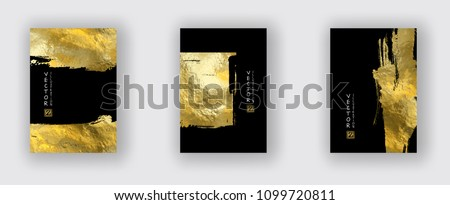 Vector Black and Gold Design Templates set for Brochures, Flyers, Mobile Technologies, Applications, Online Services, Typographic Emblems, Logo, Banners. Golden Abstract Modern Backgro Royalty-Free Stock Photo #1099720811
