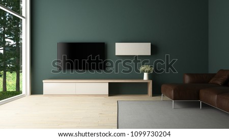 TV cabinet and brown leather sofa in green wall living room with large window garden view - 3D rendering #1099730204