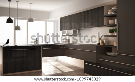Modern minimalistic wooden kitchen with parquet floor, carpet and panoramic window, white and gray architecture interior design, 3d illustration #1099743029
