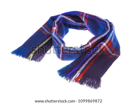 Blue warm checkered scarf. Isolated on white background. #1099869872