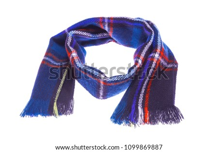 Blue warm checkered scarf. Isolated on white background. #1099869887